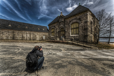 """""""Ed Photographing Pumping Station (right) and Coal House (left"""" March 30th, 2011"""