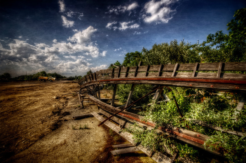 """Rust on the Fallen Tracks""<br /> July 10th, 2012<br /> Ruins of Lincoln Park's Comet Roller Coaster"