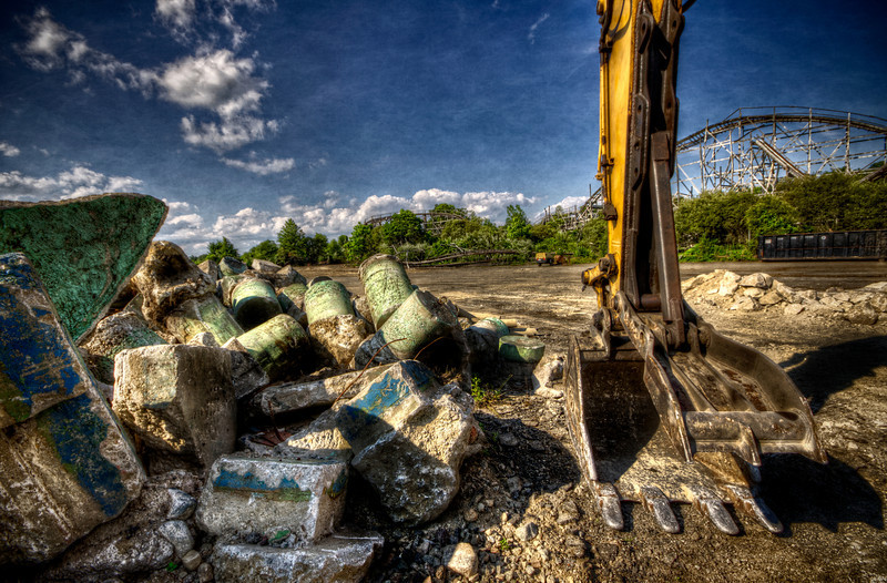 """""""The Monster Waits""""<br /> July 10th, 2012<br /> Ruins of Lincoln Park's Comet roller coaster<br /> Dartmouth, MA"""