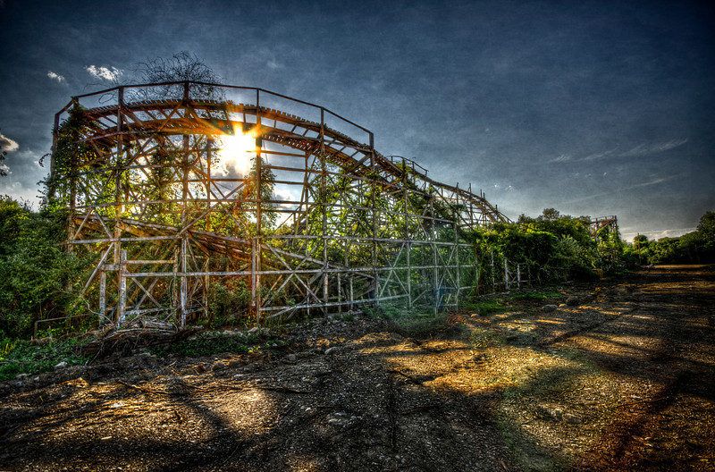 """One of its last Sunsets""<br /> July 10th, 2012<br /> Lincoln Park's Comet roller coaster"