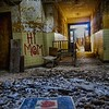 A get well soon card laying in rubble in the abandoned Forest Haven asylum, one of America's most notorious mental institutions. The asylum, in Laurel, Maryland, has been abandoned for about 25 years.