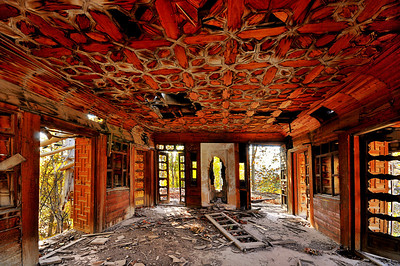 Wooden Walls and the Ceiling of a Collapsed House in Iran