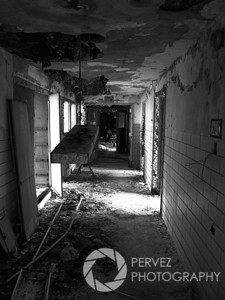Creepy hallway in a dormitory in the abandoned Forest Haven asylum, one of America's most notorious mental institutions. The asylum, in Laurel, Maryland, has been abandoned for about 25 years.
