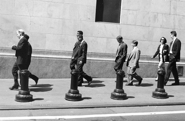 A sentimental favourite and the first photo I ever had framed. It was 1995 and my first visit to Wall Street, a remarkably small strip for one which such clout. I spied this merry band of locals and snapped. Not until weeks later, in a Czech darkroom, did I see the finished result and smile. I love the symmetry. My late father did 38 years of shift work at the now defunct Kodak factory, mixing the emulsion that coated this negative. That means a lot.