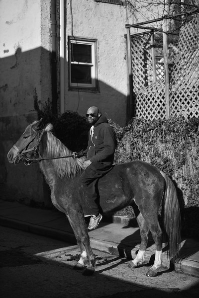Baltimore -- Gready poses for a portrait while riding Pimp on Feb. 24, 2019. Photo by Eric Lee
