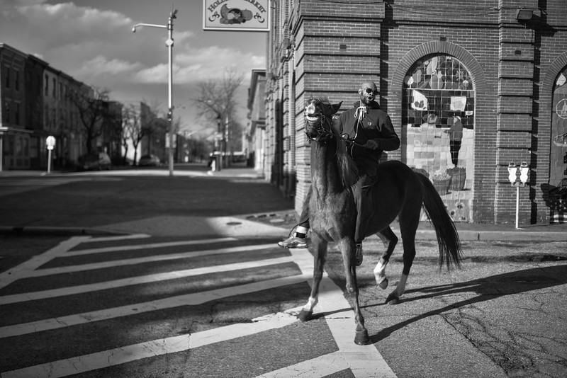 Baltimore -- Gready tries to reign in Pimp, who hasn't been ridden in a few months on Feb. 24, 2019. Photo by Eric Lee