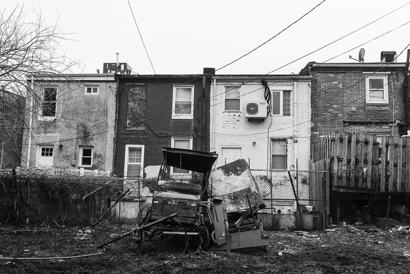 Baltimore -- Broken down wagons sit in the stable's yard on Feb. 23, 2019. Photo by Eric Lee