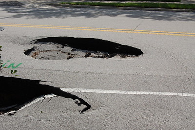 Sinkhole on Jefferson, just north of State Street in Downtown Jacksonville.