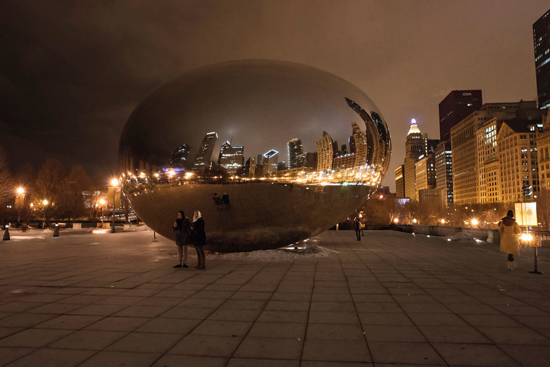 Cloud Gate on a Rainy Winter's Night