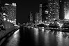 CHI 045<br /> A quiet night on the Chicago River in downtown Chicago, Illinois.