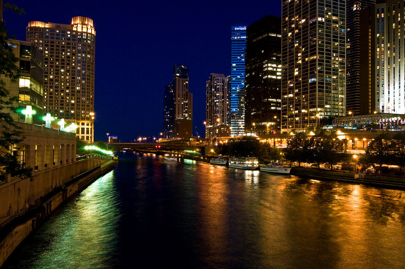 CHI 010                            <br /> A quiet night on the Chicago River in downtown Chicago, Illinois.