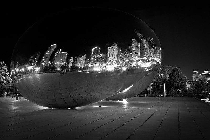 CHI 043<br /> One of Chicago's newest landmarks, Cloud Gate reflects the city skyline in it's polished surface.