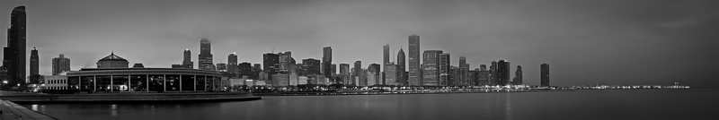 CHI 051<br /> The John G. Shedd Aquarium and the Chicago skyline at dawn.