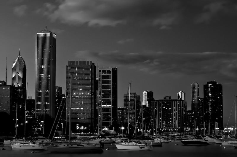CHI 050<br /> Dusk settles in over boats in Burnham Harbor, Chicago lakefront.