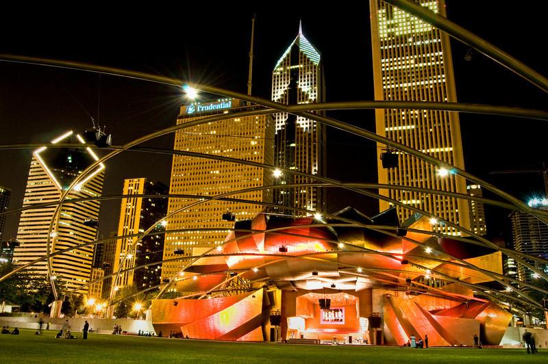 CHI 026                         <br /> The Pritzker Pavilion in Chicago's Millennium Park on a summer evening.