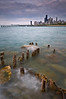 CHI 015                      <br />  The remains of a deteriorating seawall at Fullerton Avenue, Chicago lakefront.