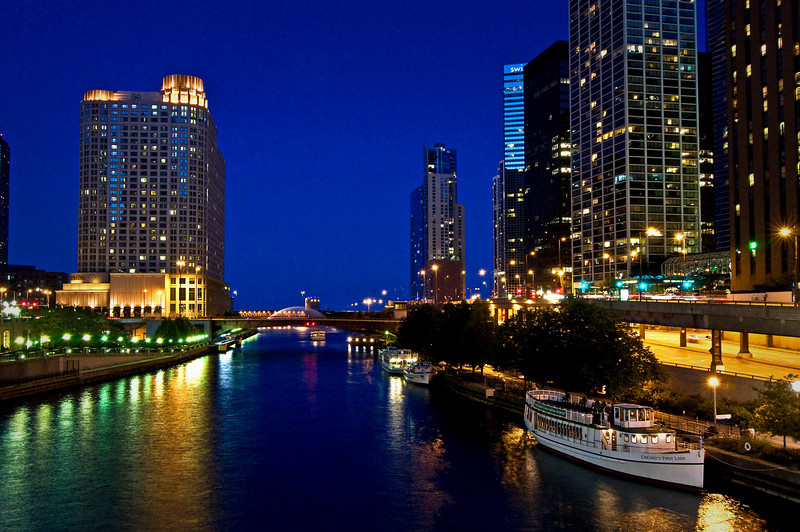 CHI 008                      <br />  A quiet night on the Chicago River in downtown Chicago, Illinois.