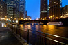 CHI 021                       <br /> A cold, blustery night on the Chicago River in downtown Chicago, IL.