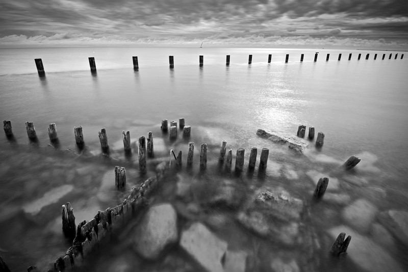 CHI 038                         <br />  Looking out over Lake Michigan and the crumbling remains of the Fullerton Avenue sea wall.