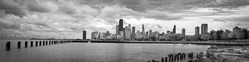 CHI 052<br /> A clearing storm over Lake Michigan and the Chicago skyline, viewed from the Fullerton Avenue sea wall.