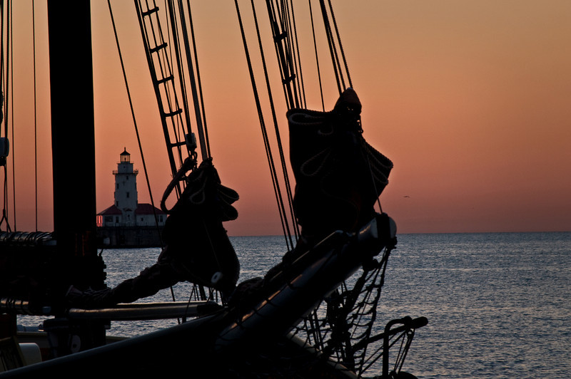 CHI 016                         <br /> Sunrise at Navy Pier with the Tall Ships in town, Chicago lakefront.