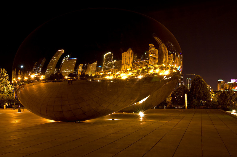 CHI 007                        <br /> One of Chicago's newest landmarks, Cloud Gate reflects the city skyline in it's polished surface.