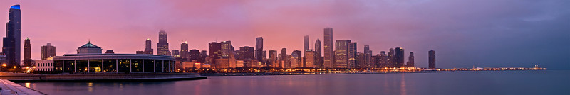 CHI 001                         <br /> The John G. Shedd Aquarium and the Chicago skyline at dawn.
