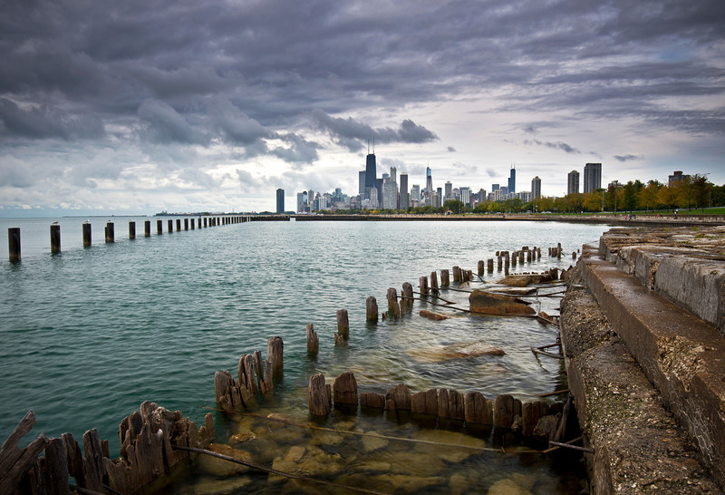 CHI 036                     <br /> The view from the Fullerton Avenue sea wall as an ominous October sky moves over the Chicago skyline.