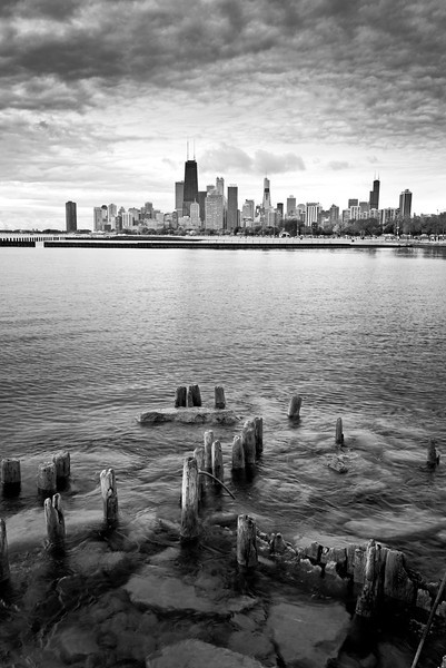 CHI 039                        <br /> The view from the Fullerton Avenue sea wall as an ominous October sky moves over the Chicago skyline.