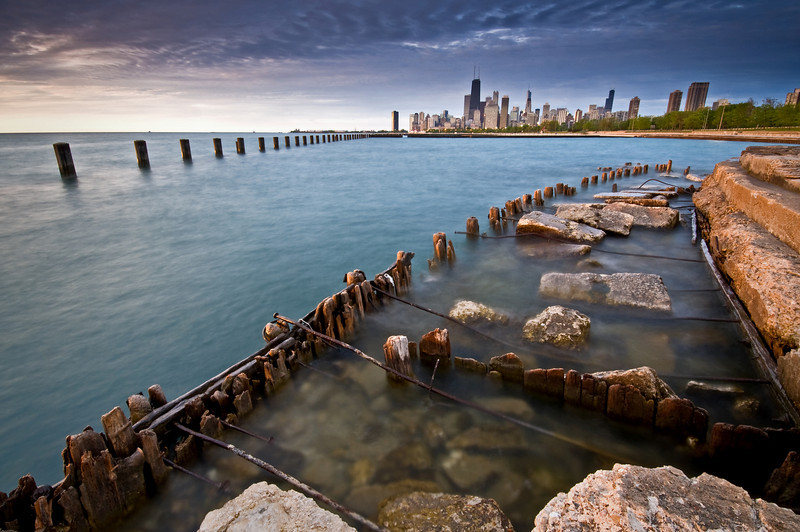 CHI 014                          <br /> The remains of a deteriorating seawall at Fullerton Avenue, Chicago lakefront.