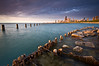 CHI 013                         <br /> The remains of a deteriorating seawall at Fullerton Avenue, Chicago lakefront.
