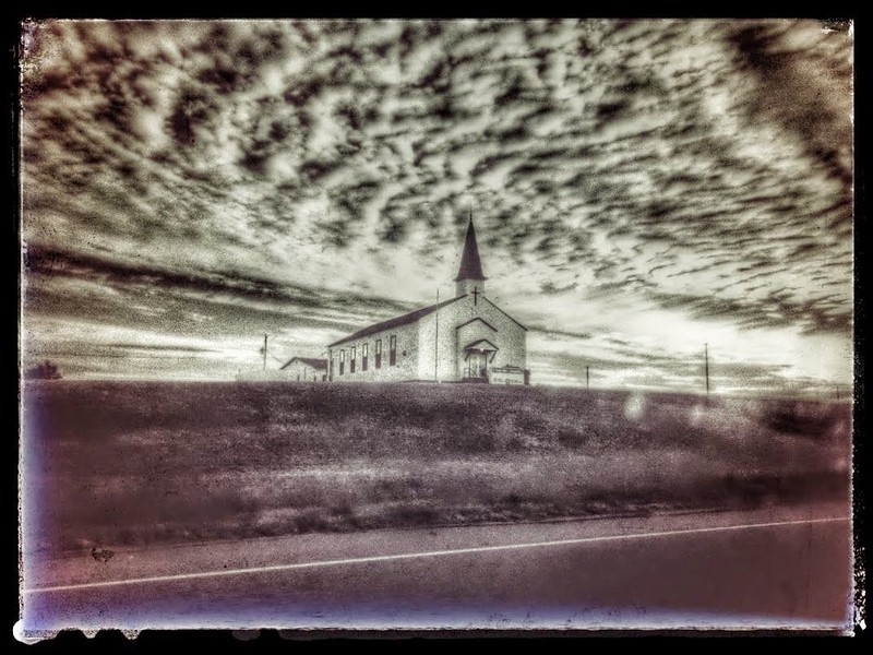 CHURCH PHOTO FROM MOVING CAR SOMEWHERE IN RURAL NORTH TX