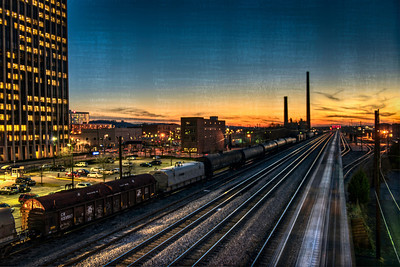 looking down the tracks at sunset