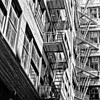 fire escapes in an alley, San Francisco, CA