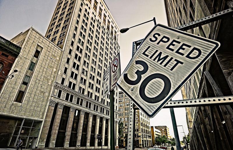 speed limit, slightly askew