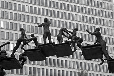 "Startup  S Truett Cathy (the founder of Chick-fil-A, Inc) Monument (AKA ""Climb with Care and Confidence"" ) Sculptors: Art and sculpture students at Georgia State University. It is located on Atlanta's famed Peachtree Street at Woodruff Park, Georgia, United States."