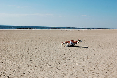 At beach alone  (at last!).