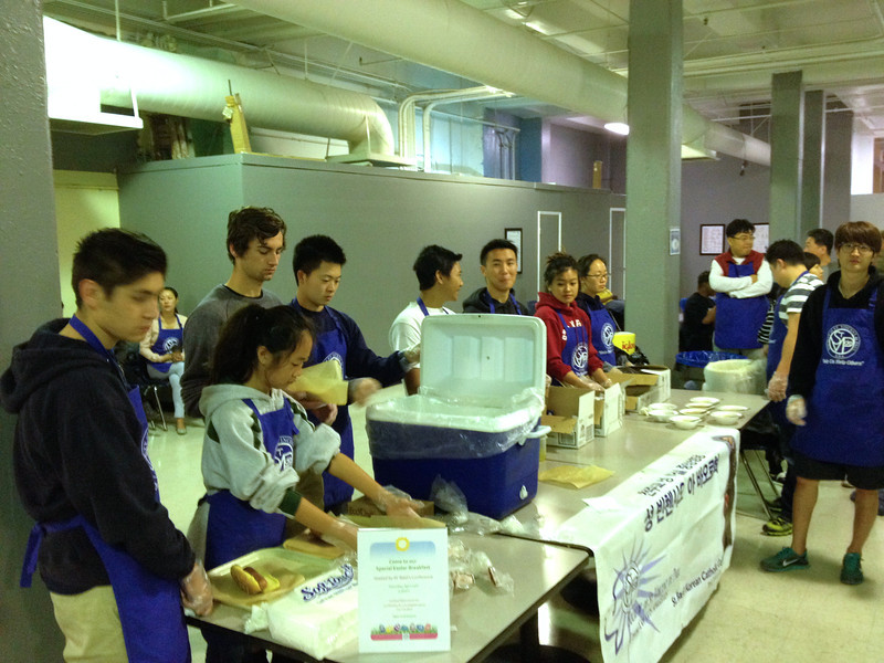 Saturday morning breakfast was provided by a Korean Catholic parish (St Basil Center) group, who brought along a youth octet. They did a fantastic job. Cubs pitched in to in order to make the breakdfast service smoother.
