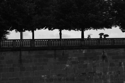 Fools in the Rain.  Sightseeing in the Eastern Garden, Heidelberg Castle (Heidelbergschloss), Heidelberg, Germany.
