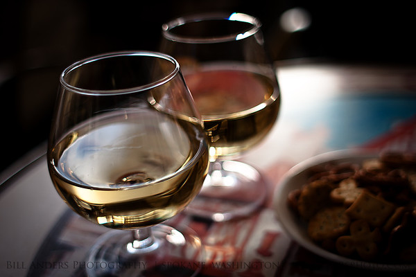 Buttery  Glasses of Chardonnay, sidewalk café, Dijon, France.