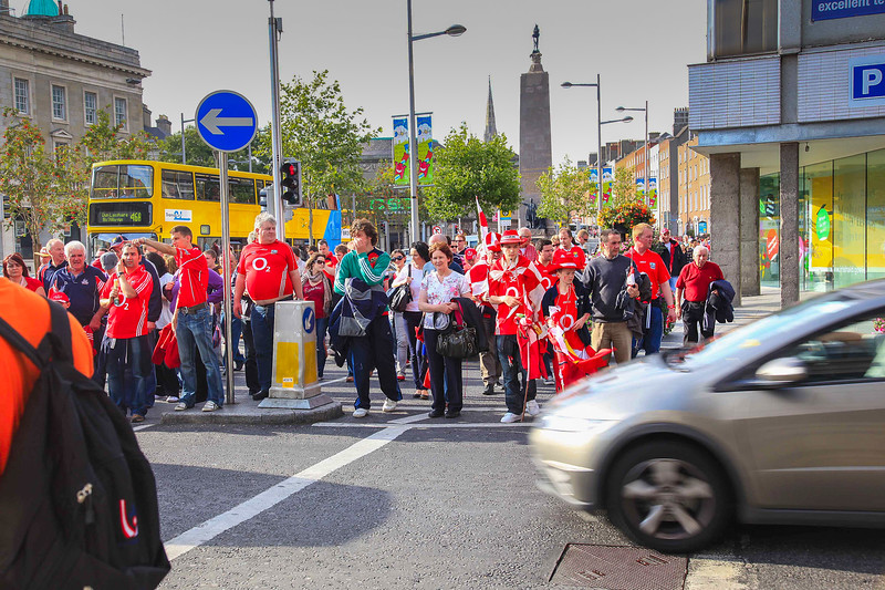 Victorious Tyrone supporters spilling out of Croke Park along O'Connell Street