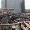 Manila LRTS BN (BN Constructions Ferroviaires et Métalliques) 1000 Series 1st Generation Unit #1055 approaching Edsa Station: Manila Light Rail Transit System (LRTS) Line 1