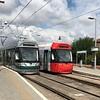 Nottingham Express Transit (NET) Trams No. 206 and 208 at Hucknall Station