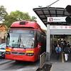 Volvo 7300 bi-articulated No. 1058-B at Reforma station – CDMX Metrobus BRT, Mexico City