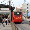 Volvo 7300 bi-articulated No.1302-B at Revolucion station – CDMX Metrobus BRT, Mexico City