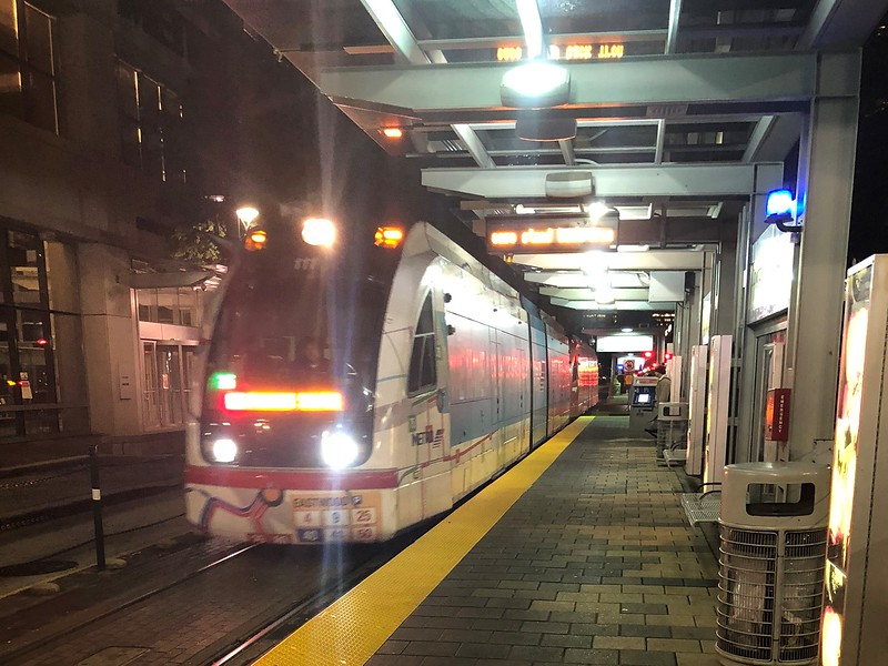 METRORail Siemens S70 Avanto LRV approaches the Downtown Transit Center Station