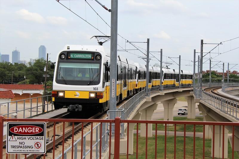 DART (Dallas Area Rapid Transit) Kinki Sharyo Super Light Rail Vehicle (SLRV) No. 103 at Inwood/Love Field Metro Station