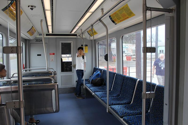 Inside DART (Dallas Area Rapid Transit) Dallas Streetcar BEC Liberty Car No. 302