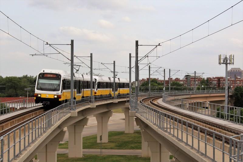 DART (Dallas Area Rapid Transit) Kinki Sharyo Super Light Rail Vehicle (SLRV) No. 132 at Inwood/Love Field Metro Station