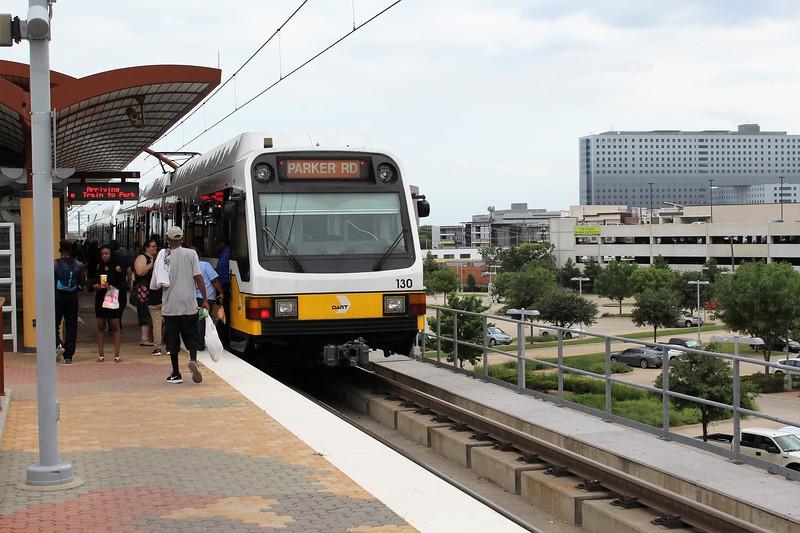 DART (Dallas Area Rapid Transit) Kinki Sharyo Super Light Rail Vehicle (SLRV) No. 130 at Inwood/Love Field Metro Station
